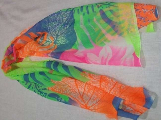 printed neon scarf