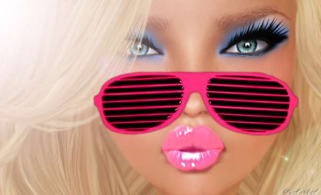 pink acid midnight doll plumped lips and eyeliner face make-up new photo shades
