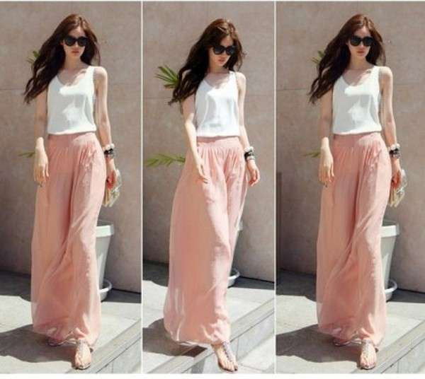 Palazzo Pants Trend 2014 For Women 9 Collection of Palazzo Pants with Short Shirts 2014