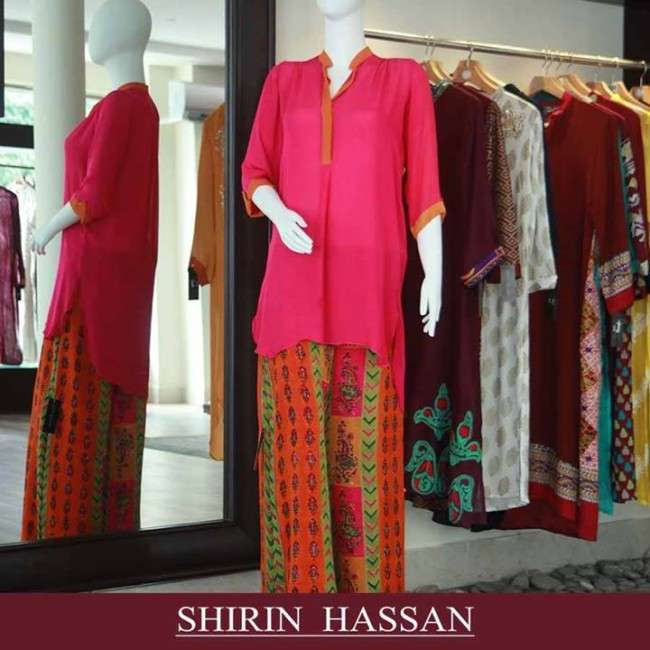 Party wear Eid dress Collection 2013 for women by Shirin Hassan42 Collection of Palazzo Pants with Short Shirts 2014