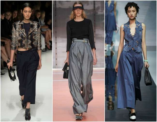 milanfwss14 trends palazzo pants1 Collection of Palazzo Pants with Short Shirts 2014